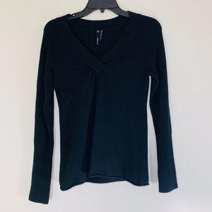 Black Take Out V-Neck Sweater; M
